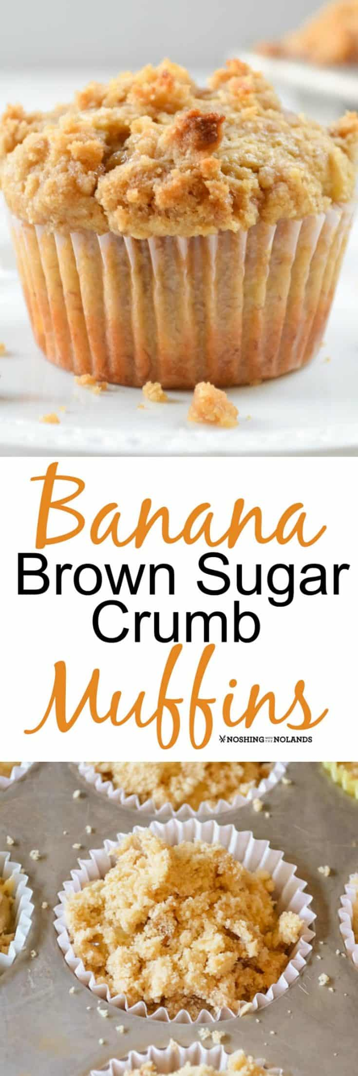 Banana Brown Sugar Crumb Muffins are simply the best muffins around. Crunchy sweet topping with a tender, moist inside. #banana #muffins #brownsugarcrumb