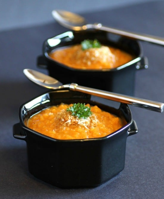 Roasted Sweet Potato and Quinoa Soup by Noshing With The Nolands