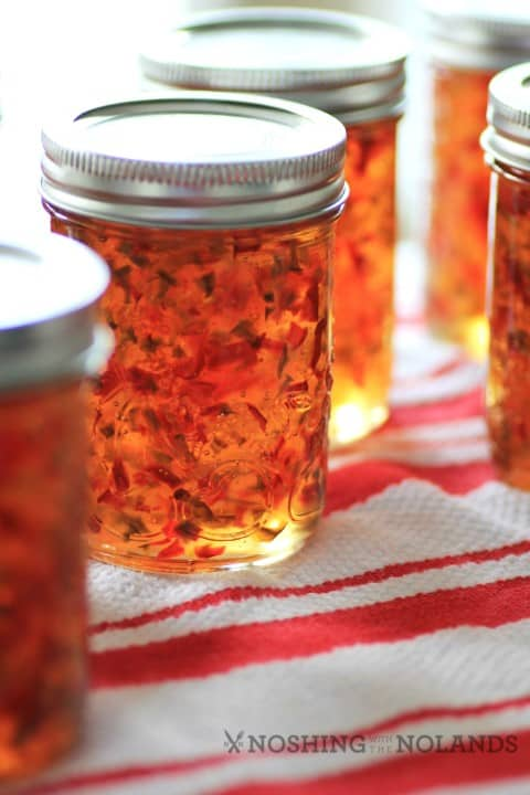 Red and Green Pepper Jelly by Noshing With The Nolands