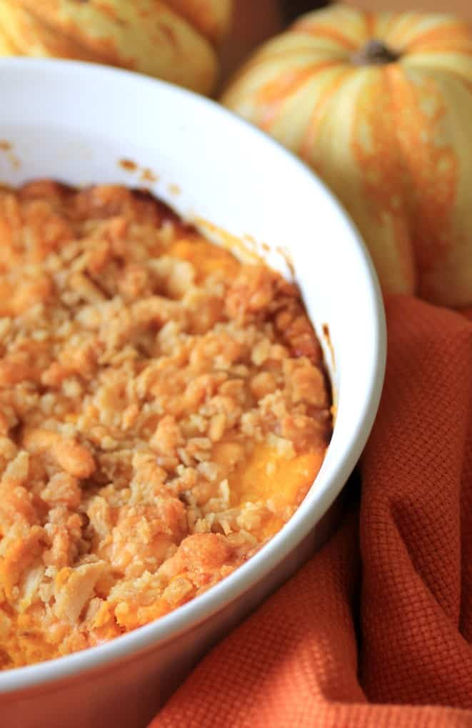 Old Time Squash Casserole in a white casserole