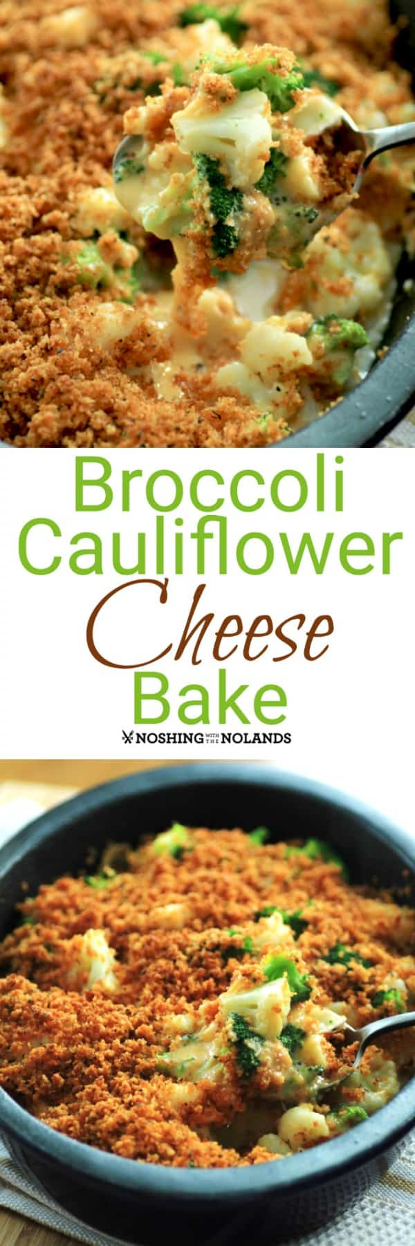 Broccoli Cauliflower Cheese Bake casserole is a super easy dish for the holidays. Make a double batch for a big crowd! #broccoli #cauliflower #cheese #casserole