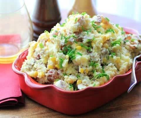 Warm Bacon Corn Smashed Potato Salad – Guest Post