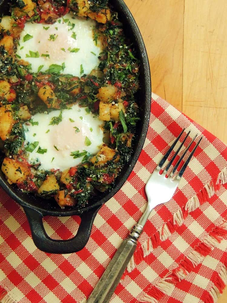 Potato Hash with  Spinach and Roasted Red Peppers by Bobbi's Kozy Kitchen