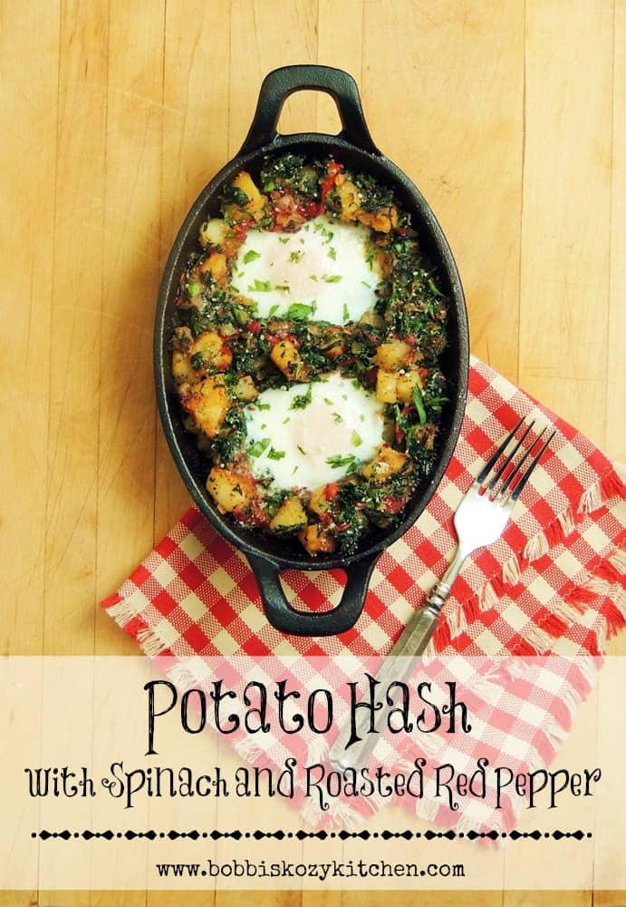 Potato Hash with Spinach and Roasted Red Pepper by Bobbi's Kozy Kitchen