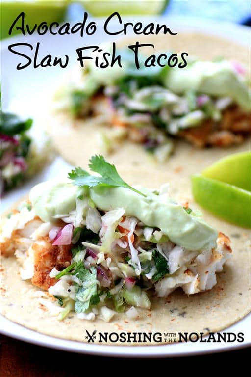 Avocado cream slaw fish tacos for Fish taco slaw recipe