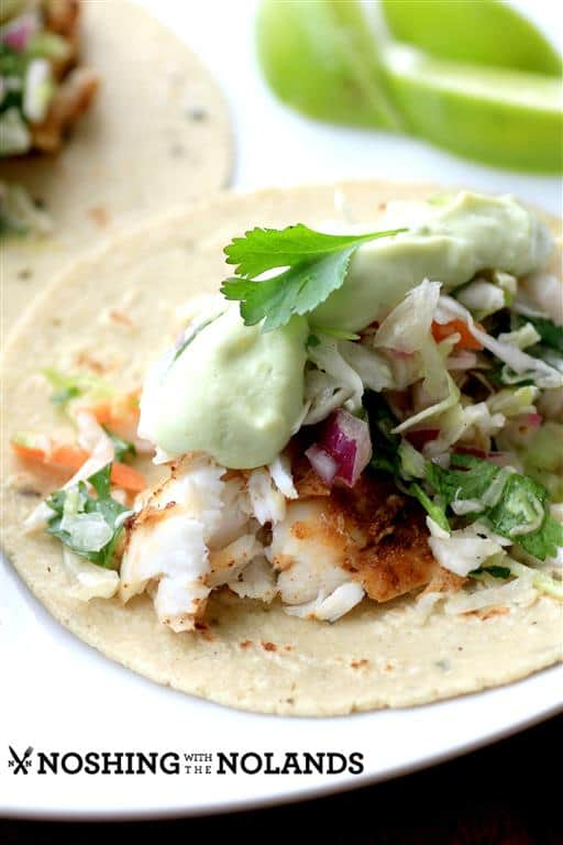 Ancho Chicken Tacos With Cilantro Slaw And Avocado Cream ...