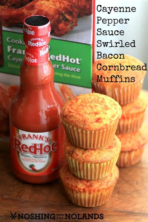 Cayenne Pepper Sauce Swirled Bacon Cornbread Muffins by Noshing With The Nolands