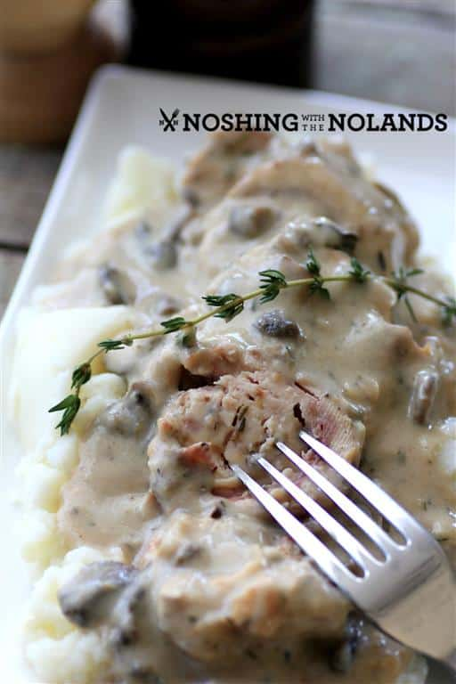 Slow Cooker Mushroom Chicken Cordon Bleu by Noshing With The Nolands
