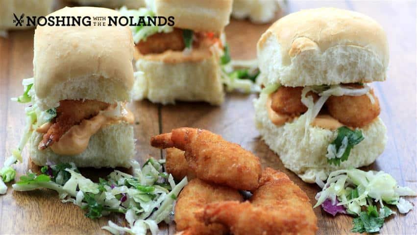 Coleslaw Smoky Mayo Jumbo Shrimp Sliders by Noshing With The Nolands