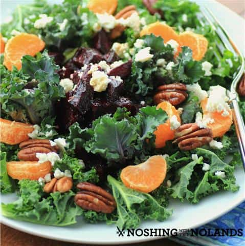 Kale Roasted Beet Salad with Honey Balsamic Dressing by Noshing With ...