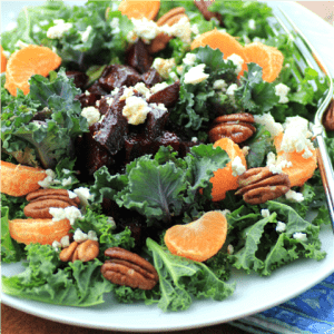 Kale Roasted Beet Salad with Honey Balsamic Dressing #SundaySupper