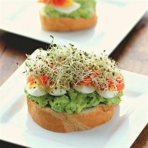 Open Faced Egg Avocado Smoked Salmon Sandwich