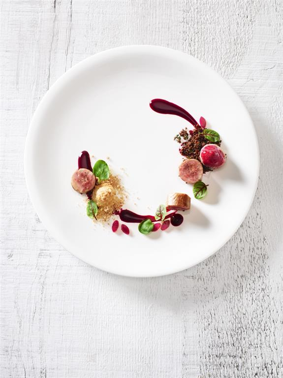 Quail Roulade with Beets and Smoked Apple by Cara Davis