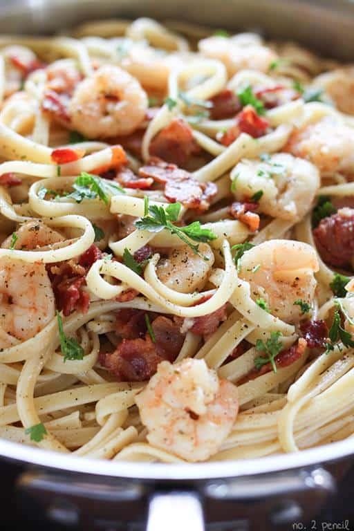 Shrimp and Bacon Pasta Carbonara by No. 2 Pencil