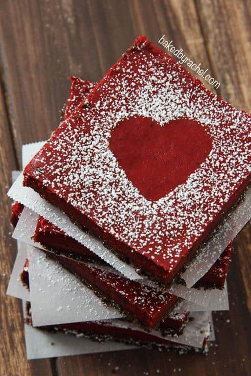 Red Velvet Cheesecake Bars by Baked by Rachel
