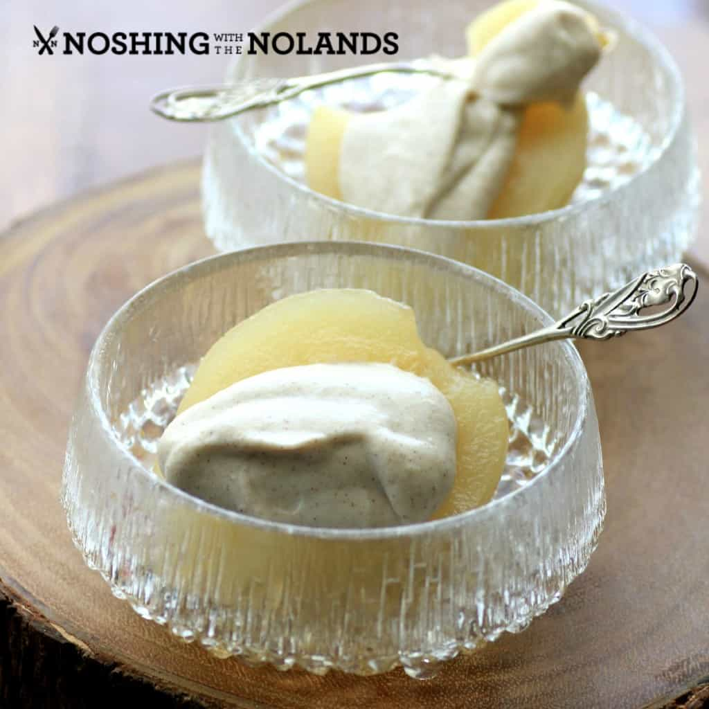 White Wine Poached Pears with Cinnamon Mascarpone by Noshing With The Nolands