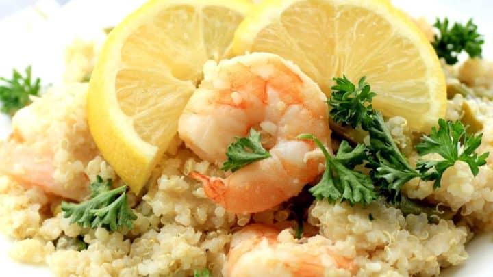 Lemony Shrimp Asparagus and Quinoa Stir Fry