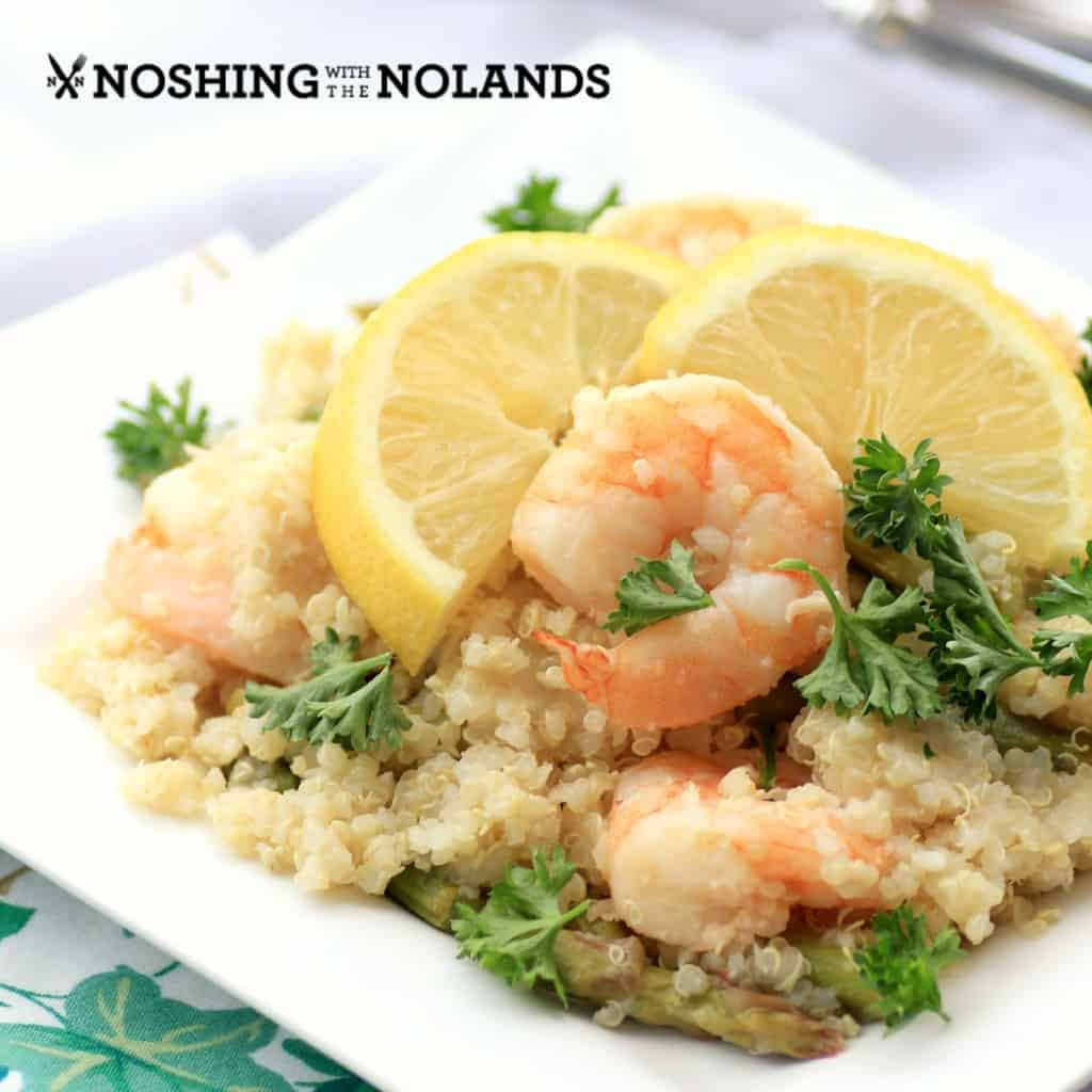 Lemony Shrimp Asparagus and Quinoa StirFry by Noshing With The Nolands