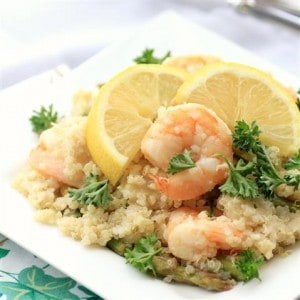 Lemony Shrimp Asparagus and Quinoa Stir Fry