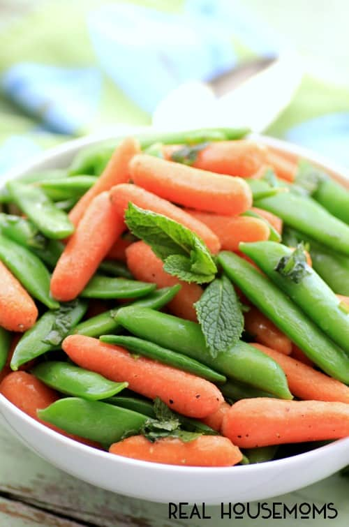 Buttery Mint Carrots and Snap Peas by Noshing With The Nolands
