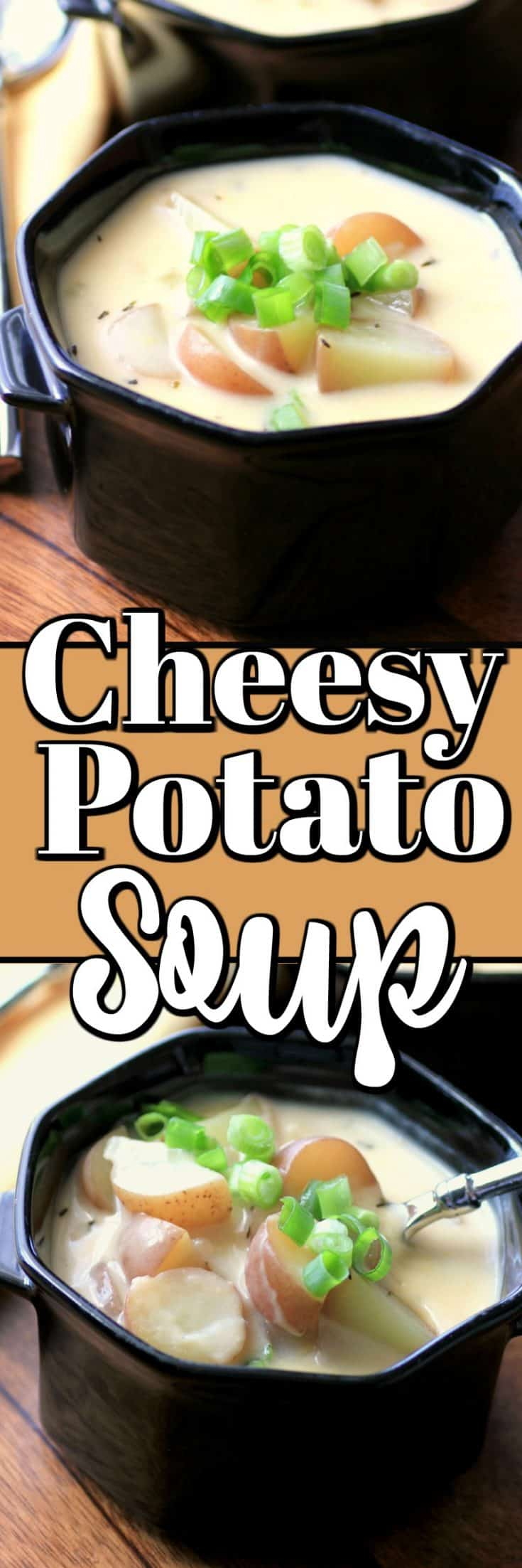 You can make this easy Cheesy Potato Soup for any night of the week and get rave reviews from your family. It is a quick and easy meal made in 20 minutes!! #potatosoup #cheesysoup