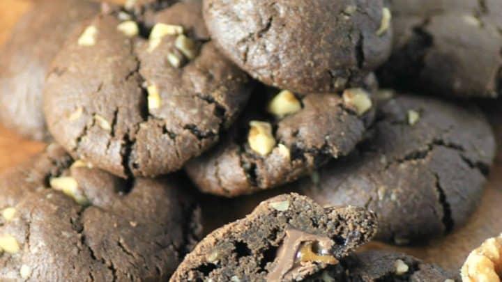 Chocolate Walnut Caramel Stuffed Cookies