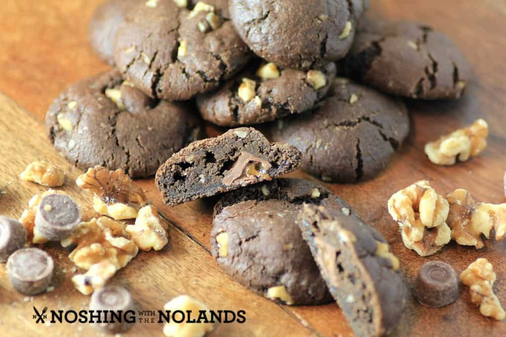 Chocolate Walnut Caramel Stuffed Cookies by Noshing With The Nolands