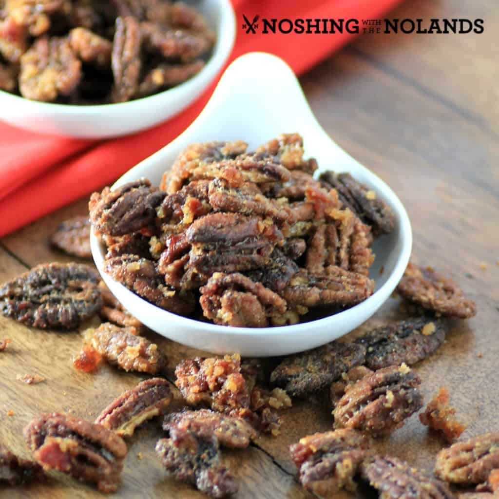 Maple Cinnamon Bacon Pecans by Noshing With The Nolands