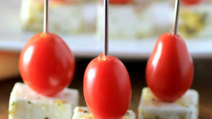 Marinated Feta Tomato Skewers #SundaySupper