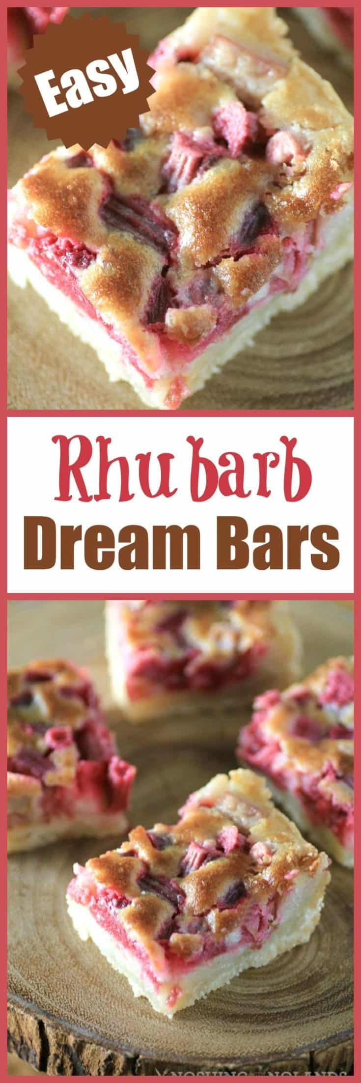 These Rhubarb Dream Bars are sure to be a hit with family and friends and are a perfect treat for spring and summer! #rhubarb #dreambars