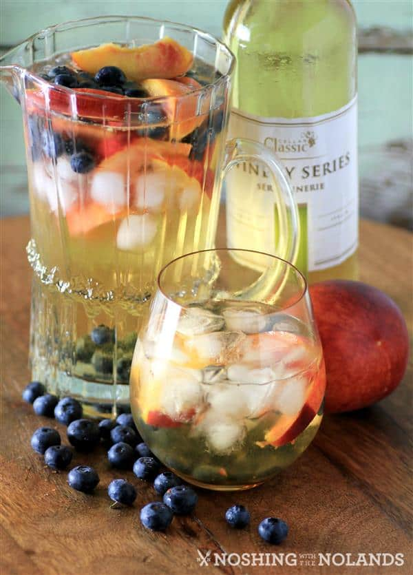 Peach Blueberry White Wine Sangria by Noshing With The Nolands