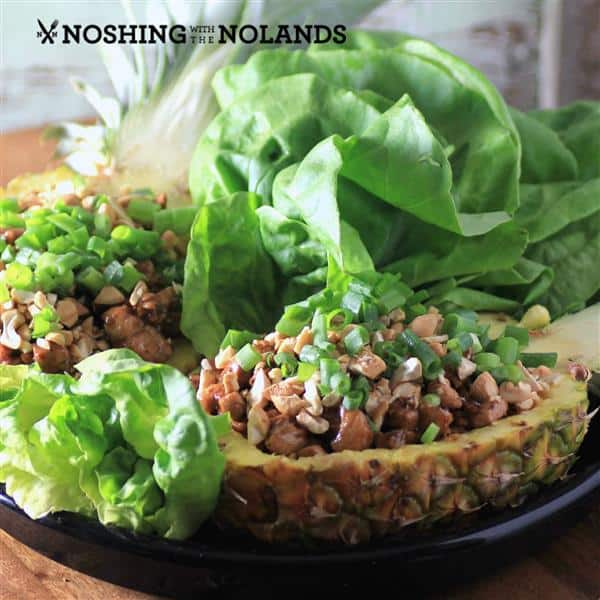 Pineapple Chicken Lettuce Wraps by Noshing With The Nolands (Custom)