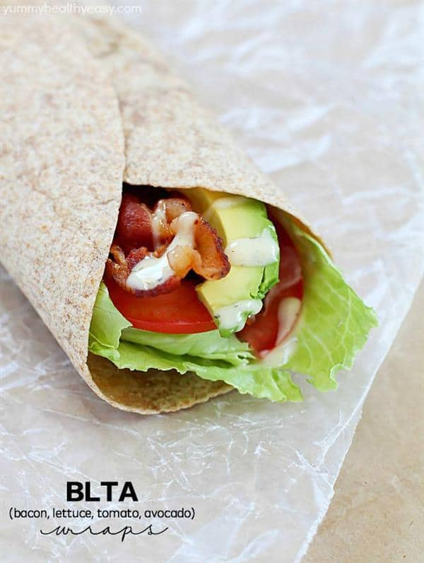 BLTA (Bacon Lettuce Tomato Avocado) Wrap from Yummy Healthy Easy
