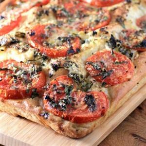 Tomato Onion Parmesan Focaccia #BreadBakers