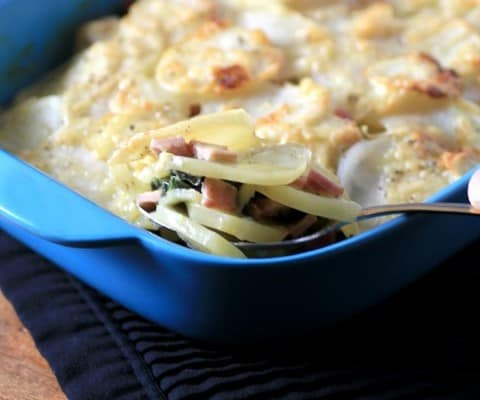Canadian Bacon, Swiss Chard and Potato Gratin