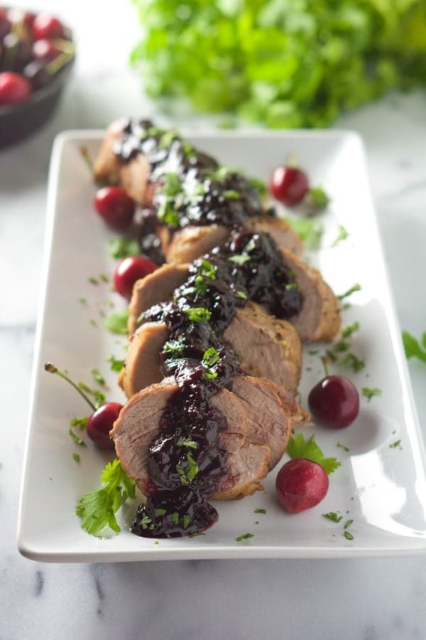 Cherry Chipolte Glazed Pork Tenderloin by With Salt and Wit
