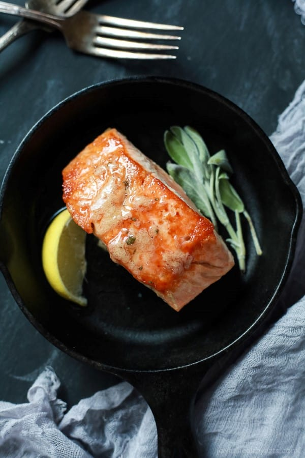 Pan Seared Salmon with Sage Brown Butter Sauce by Joyful Healthy Eats