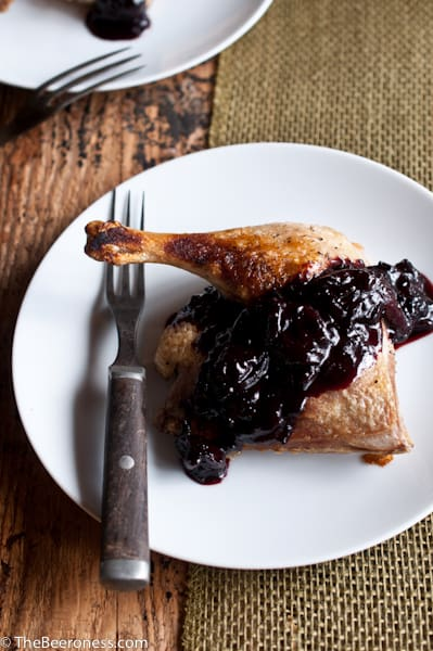 Roasted Duck Legs with Cherry Porter Sauce by The Beeroness