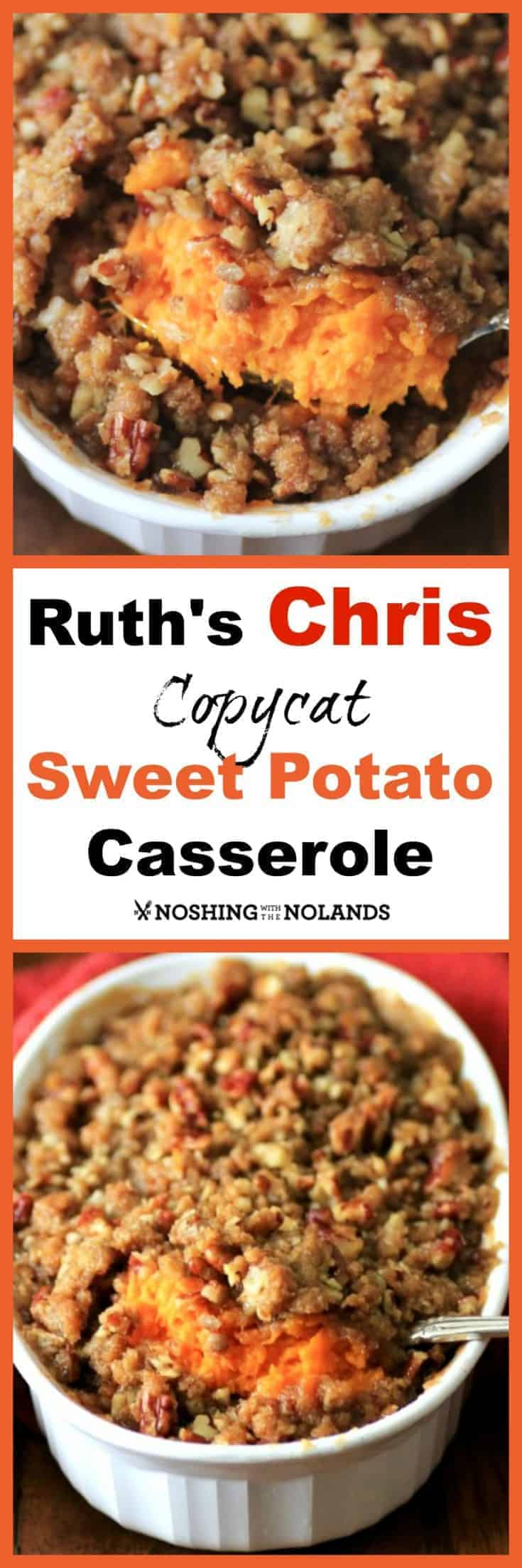 Ruth's Chris Copycat Sweet Potato Casserole is an awesome side dish that eveyone will love. It is easy and a great make ahead too. #holiday #sidedish #makeahead