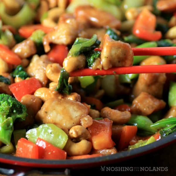 Asian Skillet Stir Fry in the skillet with chop sticks