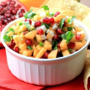 Holiday Cantaloupe Pomegranate Salsa