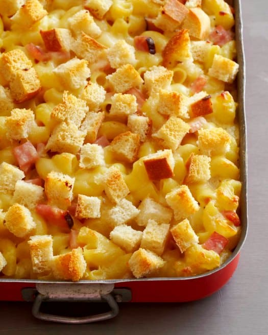 Gruyere Macaroni and Cheese Casserole with Ham and Cubed Sourdough by Culinary Life