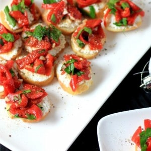 Ricotta Roasted Red Pepper Crostini