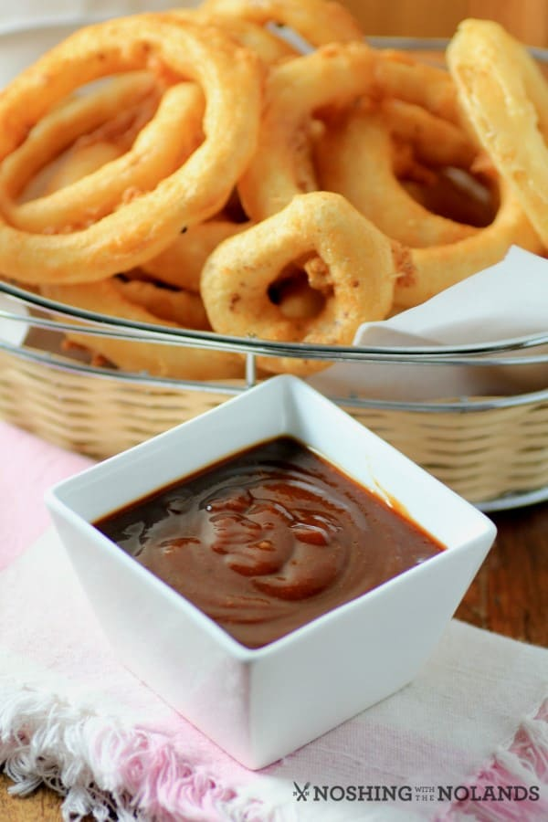 Beer Battered Onion Rings with Southern BBQ Sauce by Noshing With The Nolands
