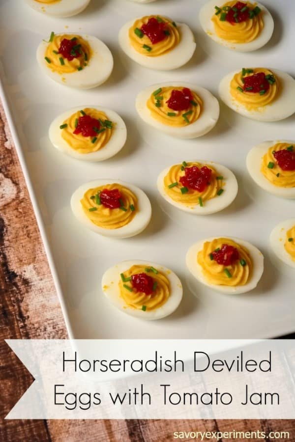 Horseradish Deviled Eggs with Tomato Jam by Savory Experiments