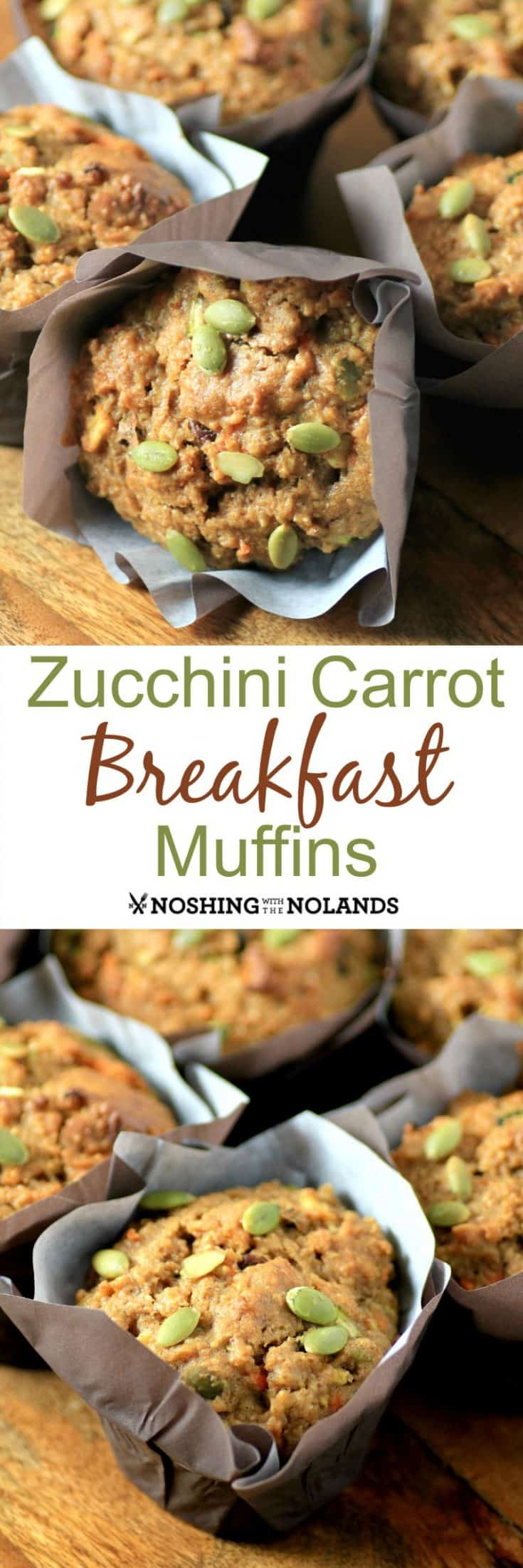 Zucchini Carrot Breakfast Muffins are a hearty delicious way to start your day!! They are packed full of healthy ingredients!! #zucchini #carrot #breakfast #muffins