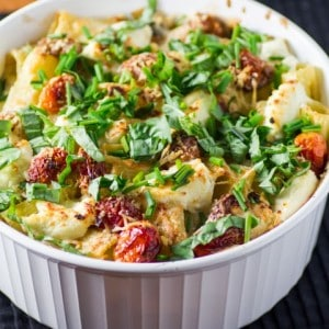 Baked Tortiglione with Three Cheeses, Vine Tomatoes and Herbs