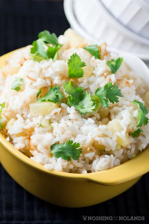 How to Make Pineapple Coconut Rice by Noshing With The Nolands, is a fantastic rice side dish that pairs with everything from ham to many Asian dishes!