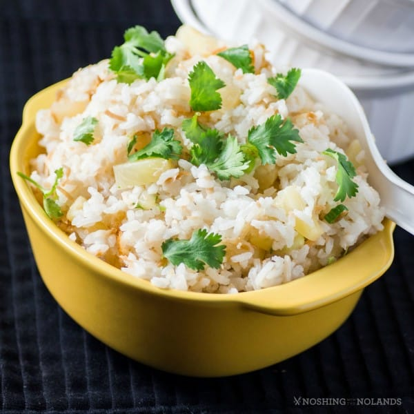How to Make Pineapple Coconut Rice by Noshing With The Nolands, , is a fantastic rice side dish that pairs with everything from ham to many Asian dishes!