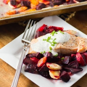 Roasted Salmon and Root Vegetables with Horseradish Sauce